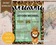 First Birthday|Jungle Birthday, Lion King Party, King of the Jungle, Wild One, Jungle Birthday, Safari Birthday, Wild One Invitation