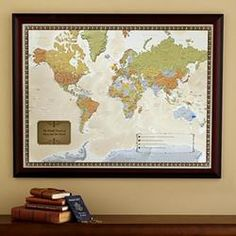 Personalized travel destination world map by @Personal Creations One of our 40th #Anniversary Gift Ideas. See more on the blog: http://blog.gifts.com/gift-guides/40th-anniversary-gift-ideas