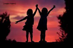 silhouette of children  #silhouettes