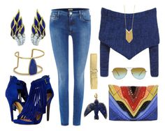 """""""Blue Flame"""" by creativelycandice on Polyvore featuring True Religion, Elena Ghisellini, Steve Madden, BillyTheTree, Sylva & Cie, Sam Edelman, Prada, Oliver Peoples, women's clothing and women"""