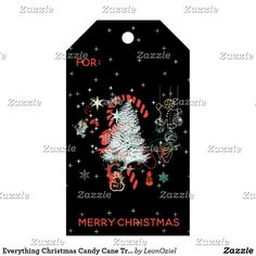 Shop Everything Christmas Candy Cane Trees Black Gift Tags created by LeonOziel. Christmas Candy, Christmas Holidays, Christmas Gifts, Stationery Craft, Gel Ink Pens, Custom Ribbon, Old Newspaper, Personalized Gift Tags, Vintage Gifts