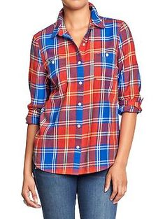 Old Navy Plaid Flannel Shirt. Best Flannel Shirts, Plaid Flannel, Plaid Shirts, Plaid Outfits, New Outfits, Cute Outfits, Orange And Blue Make, Oxford White, Fashion Capsule