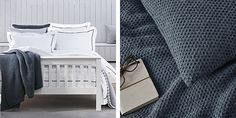 Buy Holkham Throw & Cushion Covers - Navy - from The White Company