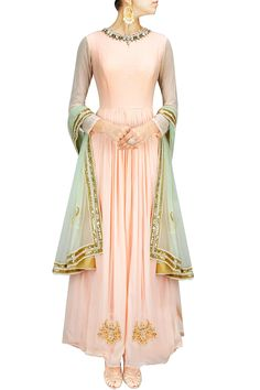 Peach and mint chandbali embroidered anarkali set BY HARSHITAA CHATTERJEE DESHPANDE