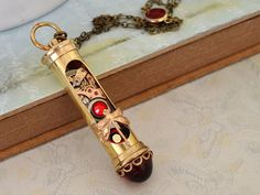 steampunk necklace  FLOW OF TIME  brass sand timer by junesnight, $87.50