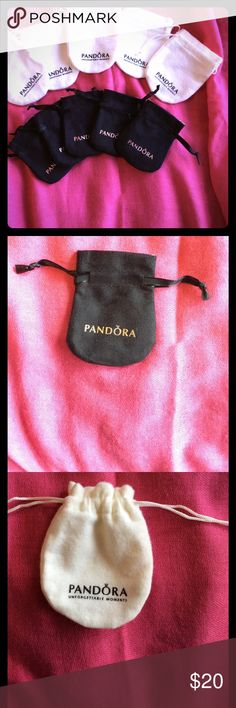 Pandora Jewelry Pouches Set of 10 Pouches. Five white tarnish resistant Pouches, great for all silver jewelry. Five small black suede like Pouches, perfect for gifting charms. Pandora Jewelry