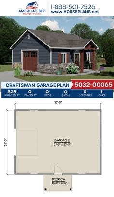 Plan 5032-00065 features a Craftsman garage with 828 sq. ft. #garage #garageplans #architecture #houseplans #housedesign #homedesign #homedesigns #architecturalplans #newconstruction #floorplans #dreamhome #dreamhouseplans #abhouseplans #besthouseplans #newhome #newhouse #homesweethome #buildingahome #buildahome #residentialplans #residentialhome
