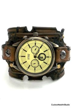 Distressed Men's Watch, Leather Watch Cuff, Burned looking Watch Bracelet