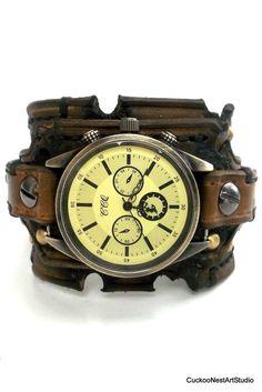 Distressed Men's Watch Leather Watch Cuff by CuckooNestArtStudio, $99.00