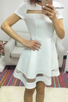 Stay fresh and gorgeous in this white mesh-panel short-sleeve skater dress.