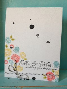 Wedding Card: Stamped and Spritzed