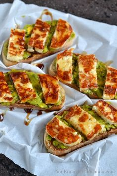 This sounds delicious - need to find Haloumi (high melting point cheese) !! Grilled Haloumi, Avocado and Pomegranate Molasses Tartine   NotEnoughCinnamon.com