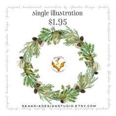 watercolor clipart, CHRISTMAS wreath clipart, watercolor wreath clipart, pinecone wreath clipart, scrapbooking, Wedding Invitation clipart