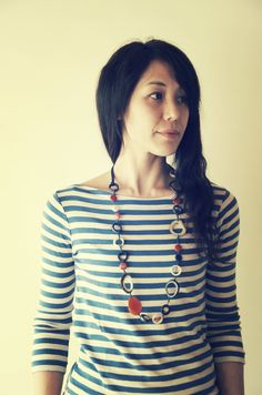 Casual style - Tagua Pandora necklace and horizontal-strips T-shirt Pandora Necklace, Concept Board, Casual, T Shirt, Summer, Design, Style, Fashion, Supreme T Shirt