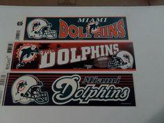 LOT OF 3-MIAMI DOLPHINS NEW NFL FOOTBALL BUMPER STICKERS 3 X12 B-136