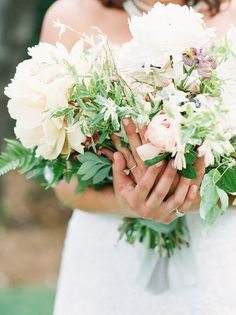 Blush Peony Garden Rose Anemone Spring Athens Georgia Foraged Wedding Bouquet | Film, Sarah Ingram Photography | Flowers, Colonial House Of Flowers | Planner, Whitewood Events