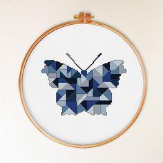 Mosaic Butterfly cross stitch pattern decor cross by ThuHaDesign