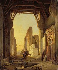 The Gates of El Geber in Morocco (oil on canvas) by Bossuet, Francois Antoine (1800-89) ( info.: Shlosstor El Geber in Marokko)