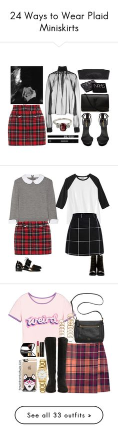 """24 Ways to Wear Plaid Miniskirts"" by polyvore-editorial ❤ liked on Polyvore featuring waystowear, plaidminiskirt, Wes Gordon, Yves Saint Laurent, Filles à papa, NARS Cosmetics, Edward Bess, Emporio Armani, Alice + Olivia and skirts"