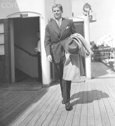 John F. Kennedy on Ocean Liner John Kennedy arrives on the liner Bremen en route to Harvard to continue his studies after a summer in England.  Date:September 08, 1938❤✾❤✾❤❁❤❃❤❁❤❁❤❁❤   http://en.wikipedia.org/wiki/John_F._Kennedy