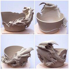 Dragon bowl. Unfired white earthenware. earthwoolfire.etsy.com
