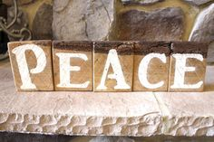 Peace Word Blocks Created from Authentic Rustic Barn Wood Boards with Bark Upcycled Reclaimed Distressed Vintage Antique Christmas Holiday