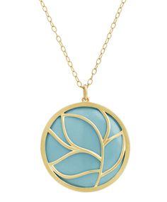 Turquoise Circle Leaf Pendant