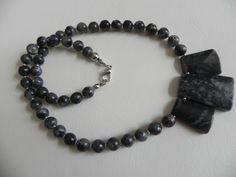 collar en placas de marmol gris y negro, collar con lagrimas en marmol gris y negro, Bisuteria, Joyeria, Collar para mujer, necklace de PekitasCreations en Etsy
