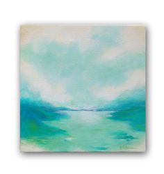 Abstract seascape original painting in aqua green  by Claudiandra, $95.00