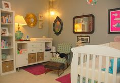 Fun girl nursery. With Expedit bookcases from Ikea.