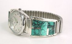 Hand made Native American Indian Jewelry; Navajo Sterling Silver Turquoise Inlay Watch Tips