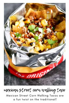 Mexican Street Corn Walking Tacos are a fun twist on the traditional! All of the flavors of elotes in this portable meal.