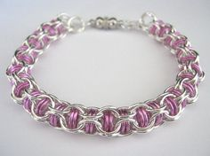 Pink+Chainmaille+Bracelet+Paramour+by+TheAlchemistsVessel+on+Etsy,+$30.00