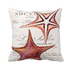 Pillow Cover Coral Starfish Beach Decor Cotton and por JolieMarche, $35.00
