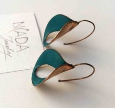 Dark turquoise drop vitreous enamel rose gold plated earring Handmade earrings…
