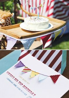 Backyard Big Top Circus First Birthday Party with a homemade wool felt pom garland, animal cracker cupcake toppers, juggling & story time.
