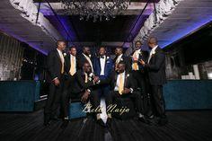 Groomsmen Sharing a Laugh in Black 'Men's Warehouse' Suits   Funlola Agbi & Molade Maurice Diya's LA Wedding   Lin & Jirsa Associates Photography