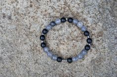 Bracelet for men, Cross, Onyx & Cloudy Quartz, Religious style, Healing crystals, Natural stones