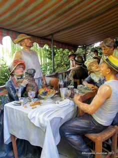 Renoir's The Luncheon of the Boating Party- Grounds for Sculpture, an Impressionist oasis in New Jersey- with brushstrokes.