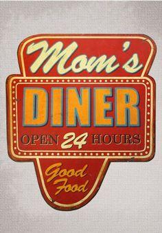Mom's Diner Sign, Retro Diner Sign, Vintage Signs