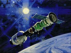 "Robert McCall Space Art | Robert McCall ""Apollo Soyuz Link Up"" 1975"