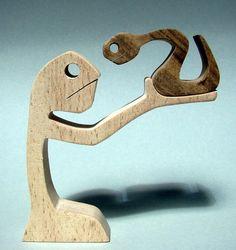 """sculpture bois chantourné """"dresseur de serpent ?"""" : Sculptures, gravures, statues par 2virgule5d"""