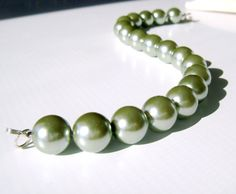Sage Green Glass Pearl Bracelet Wedding Modern by TraceDesigns, $34.00