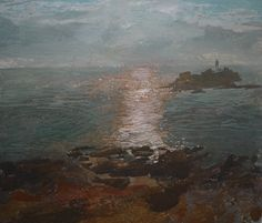 Ruth Stage, 'Godrevy Lighthouse', egg tempera, 14x17 inches