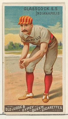 Issued by Goodwin & Company in this baseball card shows Jack Glasscock of the Indianapolis Hoosiers. Glasscock was a shortstop for the National League team. These Goodwin Champions baseball cards appeared in packs of Old Judge & Gypsy Queen Cigarettes. Old Baseball Cards, Baseball Art, Better Baseball, Baseball Players, Rockies Baseball, Baseball Signs, America's Pastime, Baseball Pictures, Historical Quotes