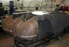 Jaguar C-Type hammer form and section body jig. Data from 3D scanning an original car.