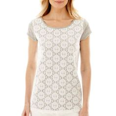 <p>For a fresh, laid-back look, flash the flattering, crochet lace overlay on the front of our slub knit scoopneck tee.</p><ul><li>cotton/polyester</li><li>polyester lace overlay</li><li>washable</li><li>imported