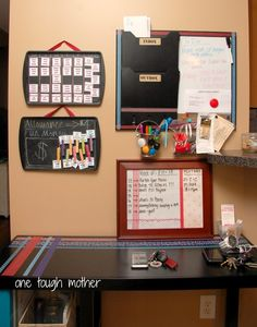 Family Command Center---hmmm include B's chore & behavior chart here? Like the allowance fun money magnet/chalk hack