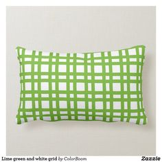 Lime green and white grid lumbar pillow Lumbar Pillow, Throw Pillows, Green Cushions, Green Home Decor, Decorative Cushions, Custom Pillows, Grid, Art Pieces, Lime