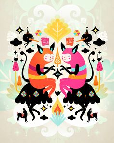 20 X 16 Cotton Rag Archival Print Muxxi Is An Illustrator And Character Designer Based In Guatemala City Her Fantastic Colorful World Of Quirky